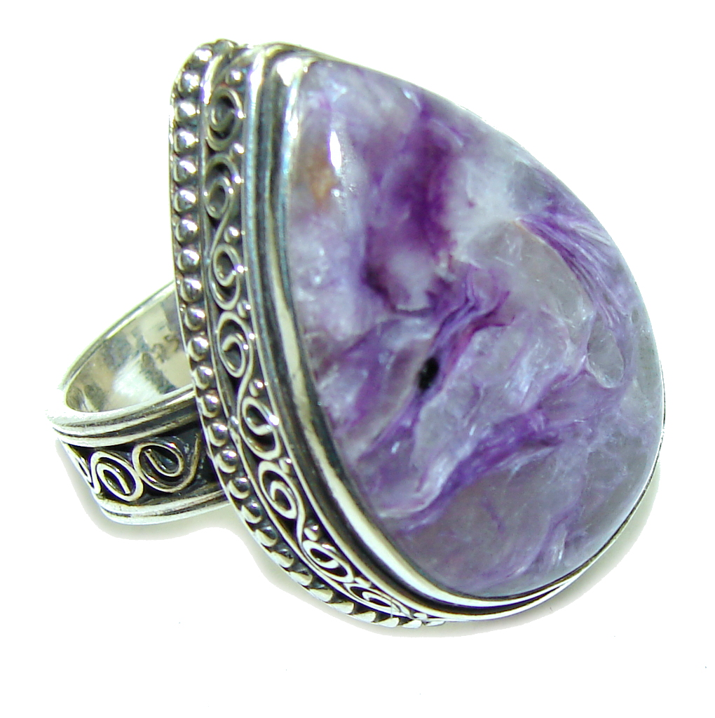 Vintage Style AAA Amazing Purple Charoite Sterling Silver Ring s 9