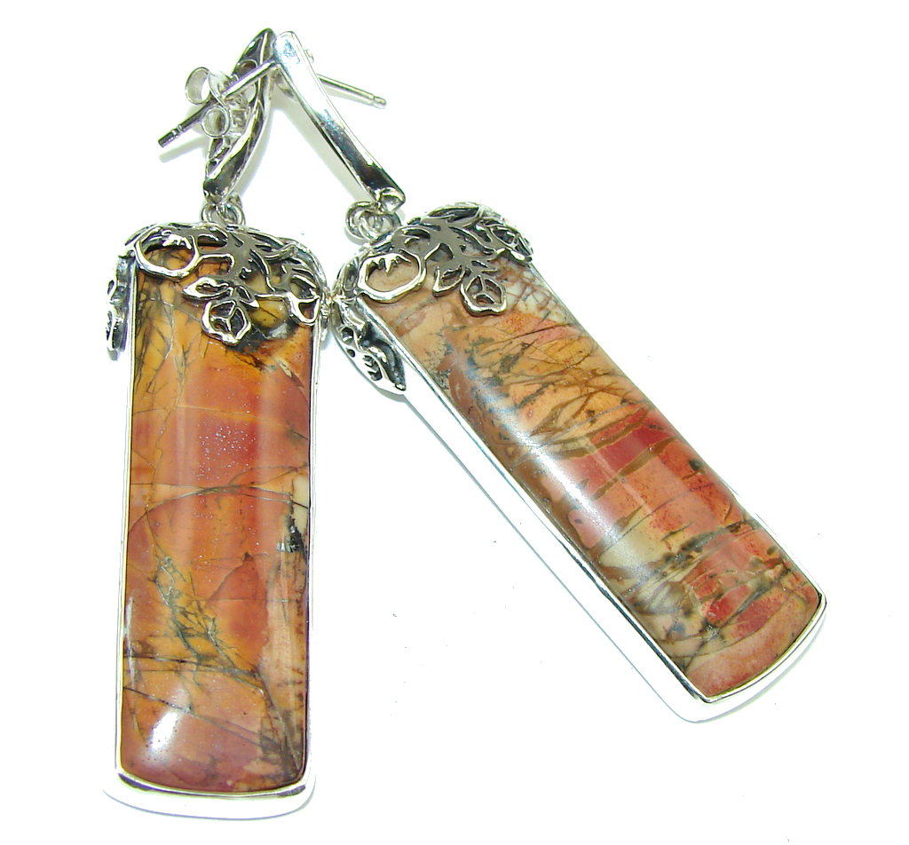 Beautiful! AAA Red Creek Jasper  Sterling Silver Earrings