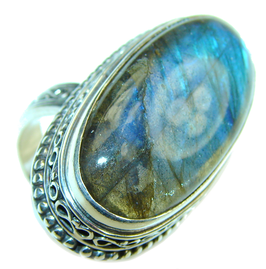Amazing! AAA Labradorite Sterling Silver Ring s. 9 1/4