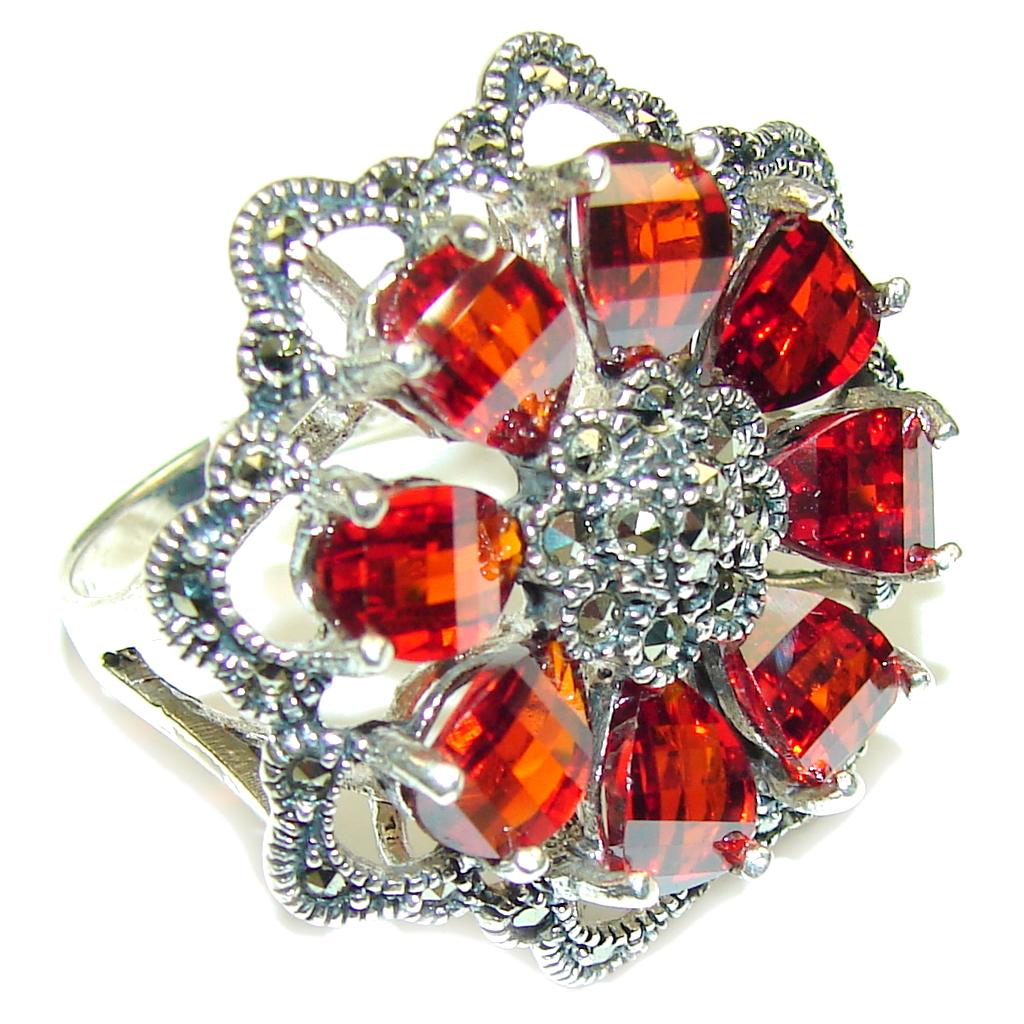 marcassite.com Floral Design Garnet Quartz & Marcasite Sterling Silver Ring s. 9