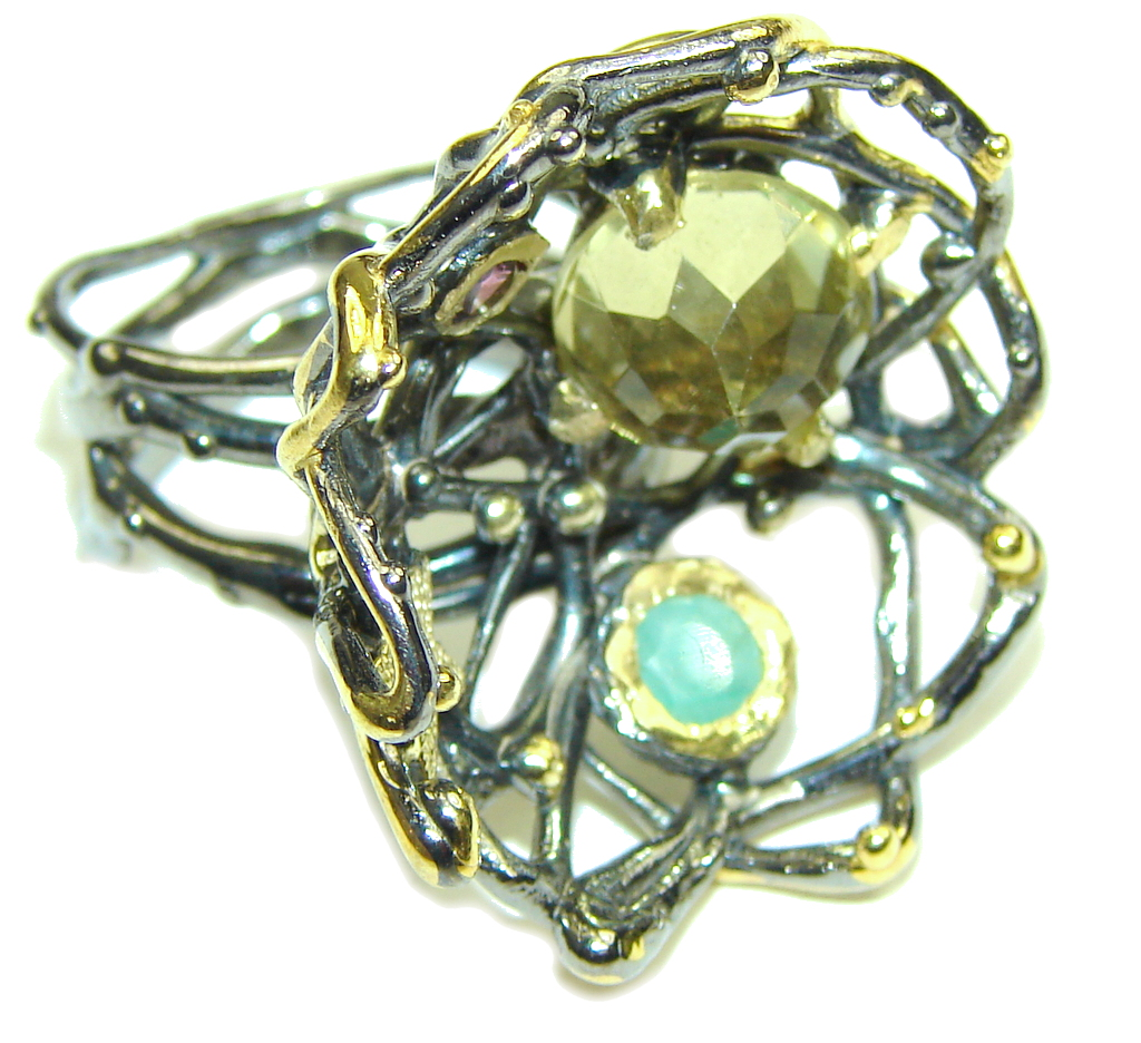 Mystic Universe Citrine Emerald Gold Plated, Rhodium Plated Sterling Silver Ring s. 7 1/4