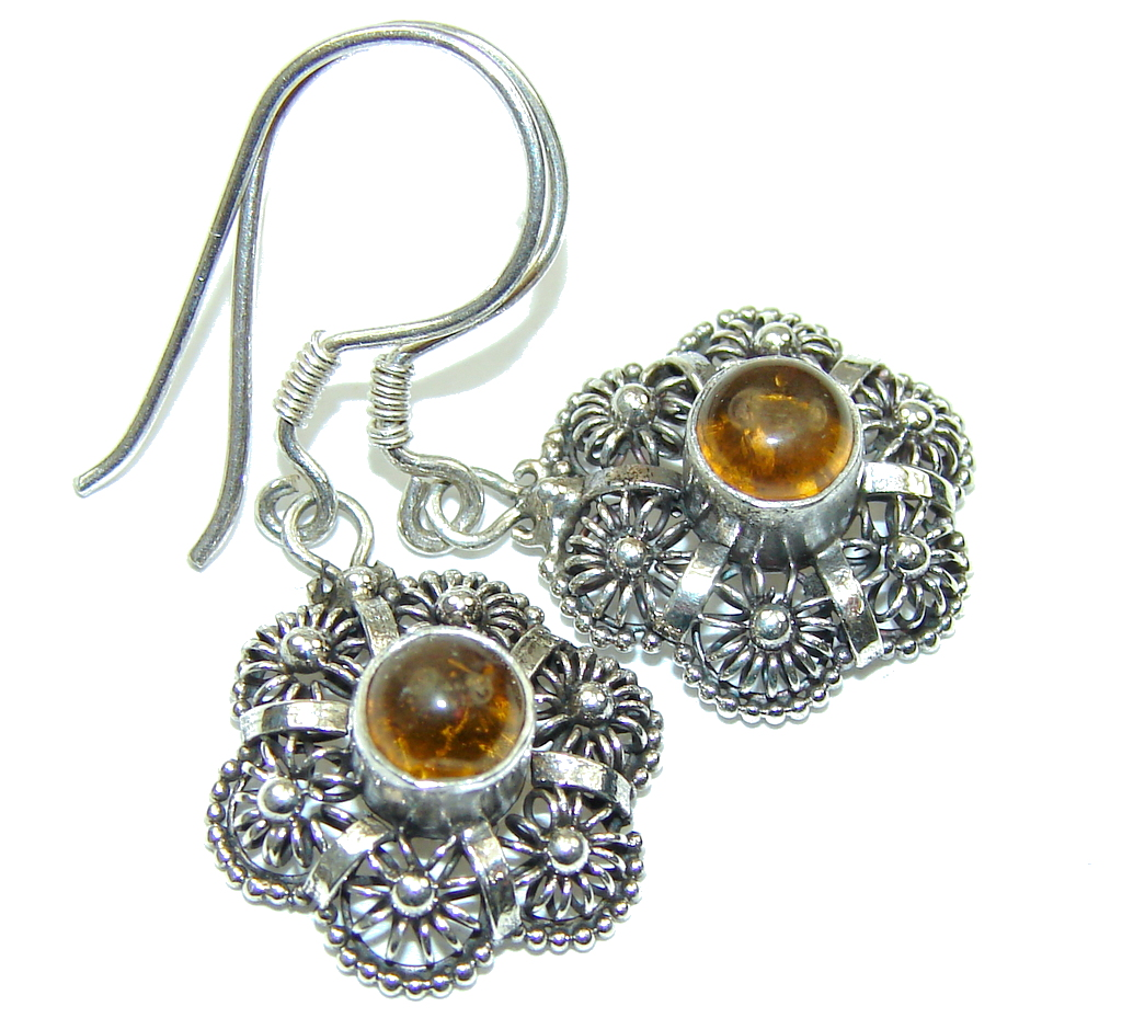 Natural! Baltic Polish Amber Sterling Silver Earrings