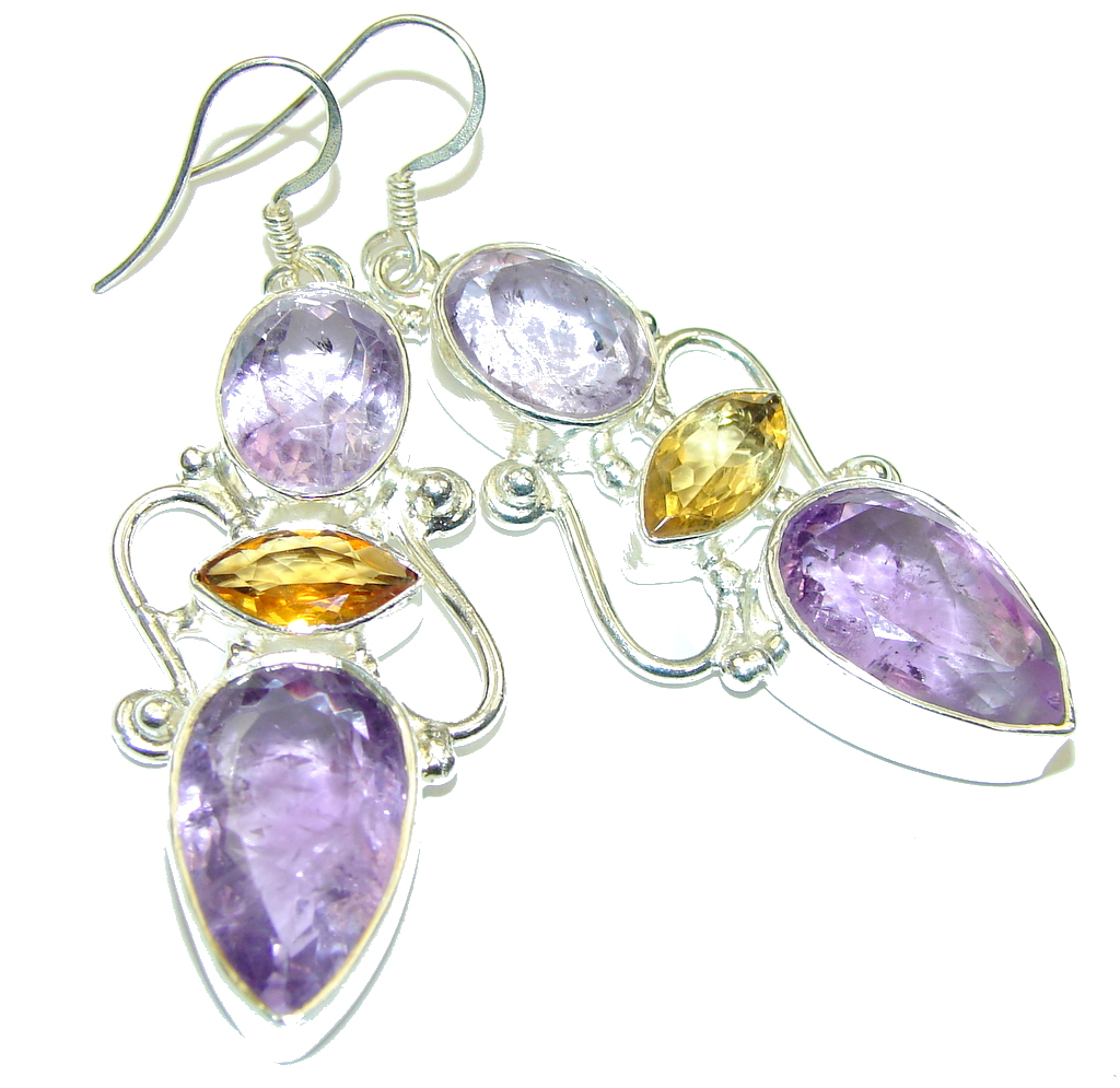 Image of Marvelous Design! Purple Amethyst Sterling Silver earrings