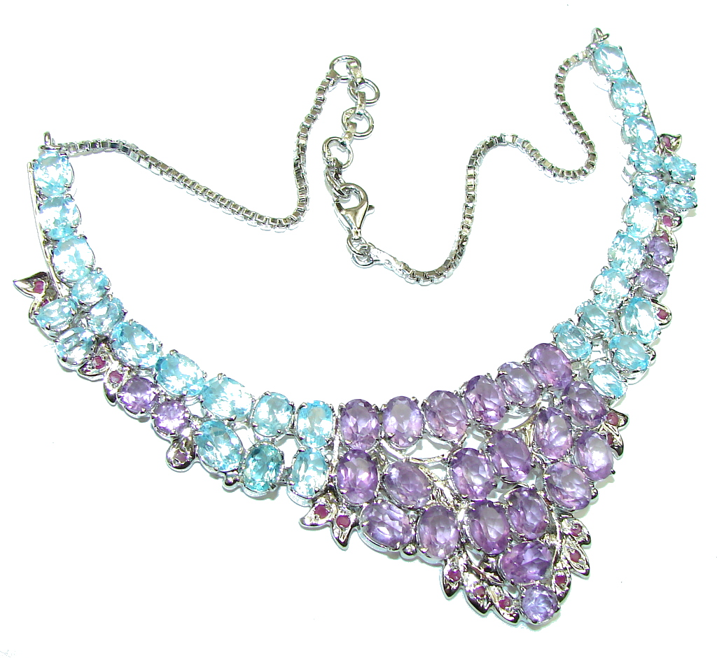 Royal Design Natural Purple Amethyst Blue Topaz Sterling Silver necklace