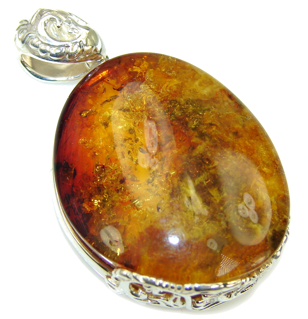 Natural AAA Baltic Polish Amber Sterling Silver Pendant