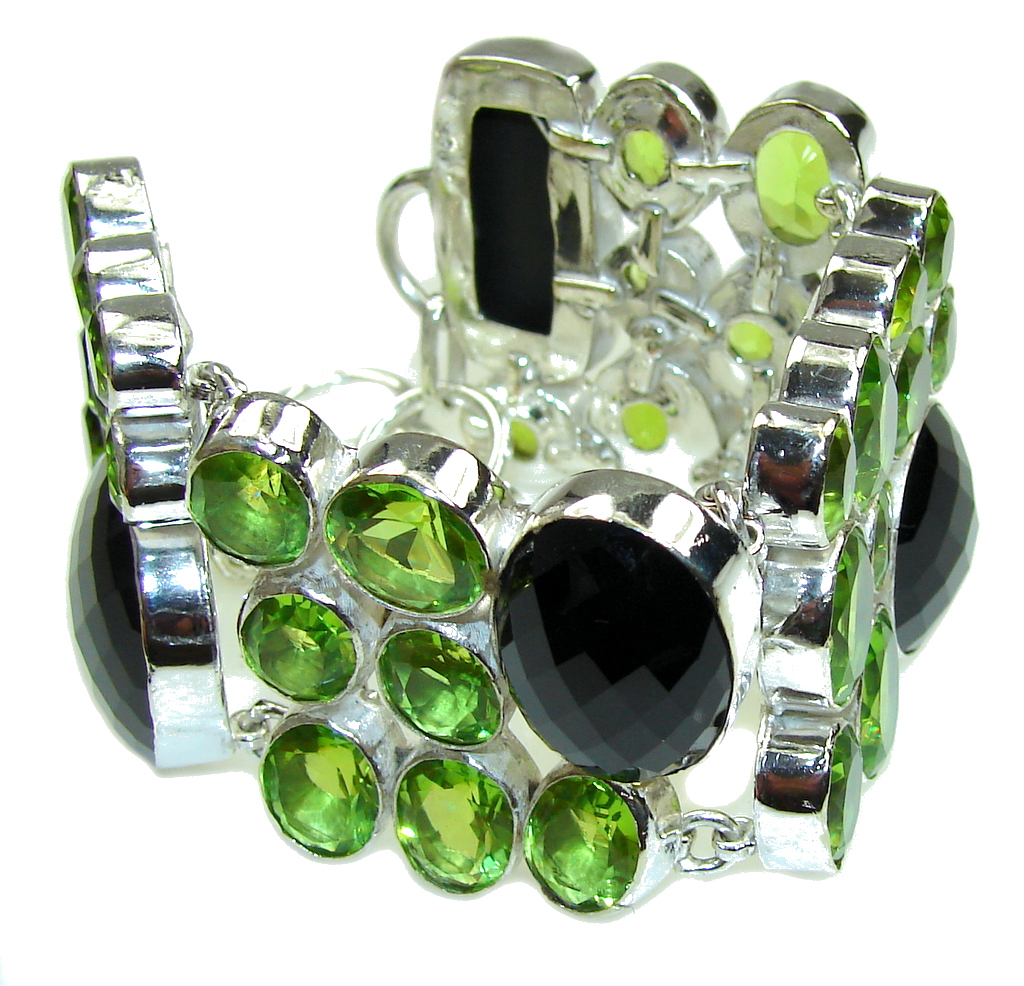Amazing! Created Black  Onyx Created Peridot Sterling Silver Bracelet