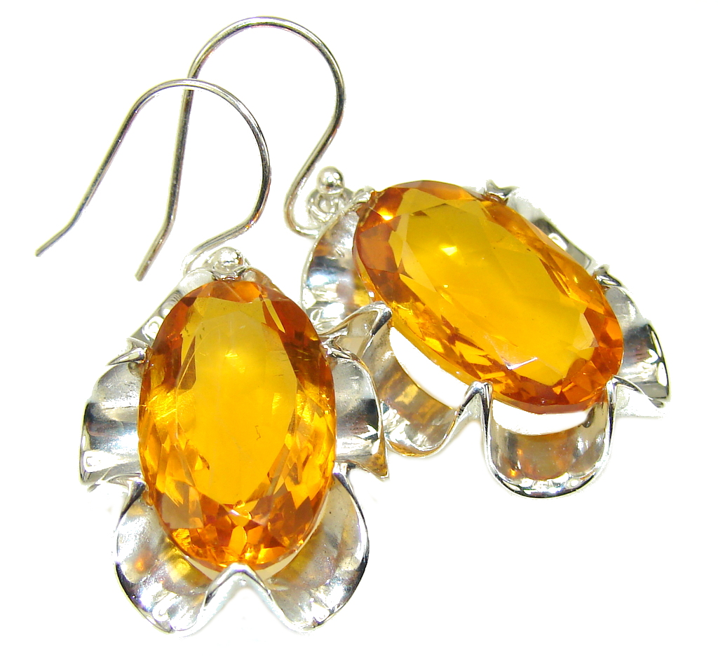 Bali Secret! Created Golden Topaz Sterling Silver earrings