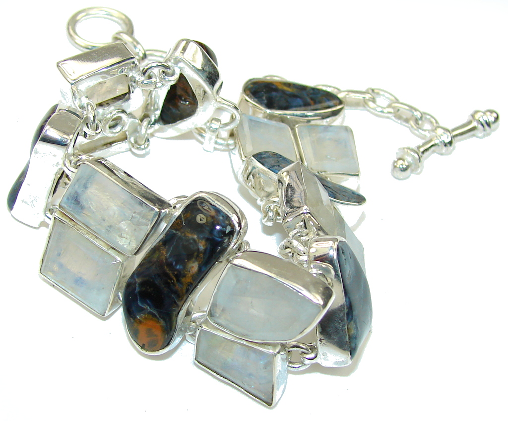 Exclusive AAA Blue Pietersite & Moonstone Sterling Silver Bracelet