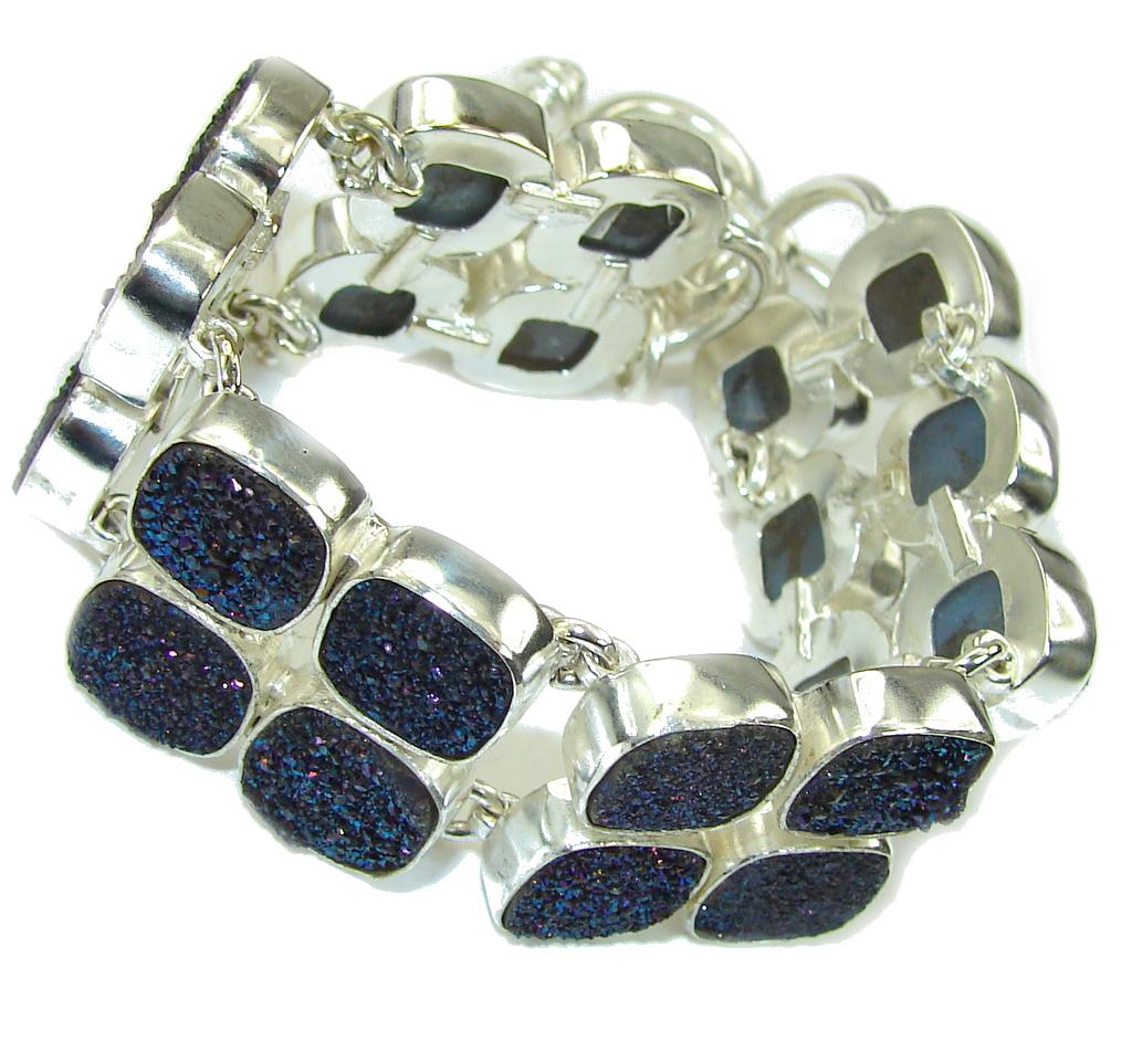 Aura Of Beauty!! Blue Rainbow Titanium Druzy Sterling Silver Bracelet