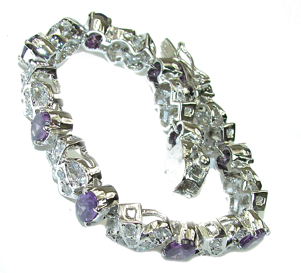 Beautiful! AAA Purple Amethyst & White Topaz Sterling Silver Bracelet