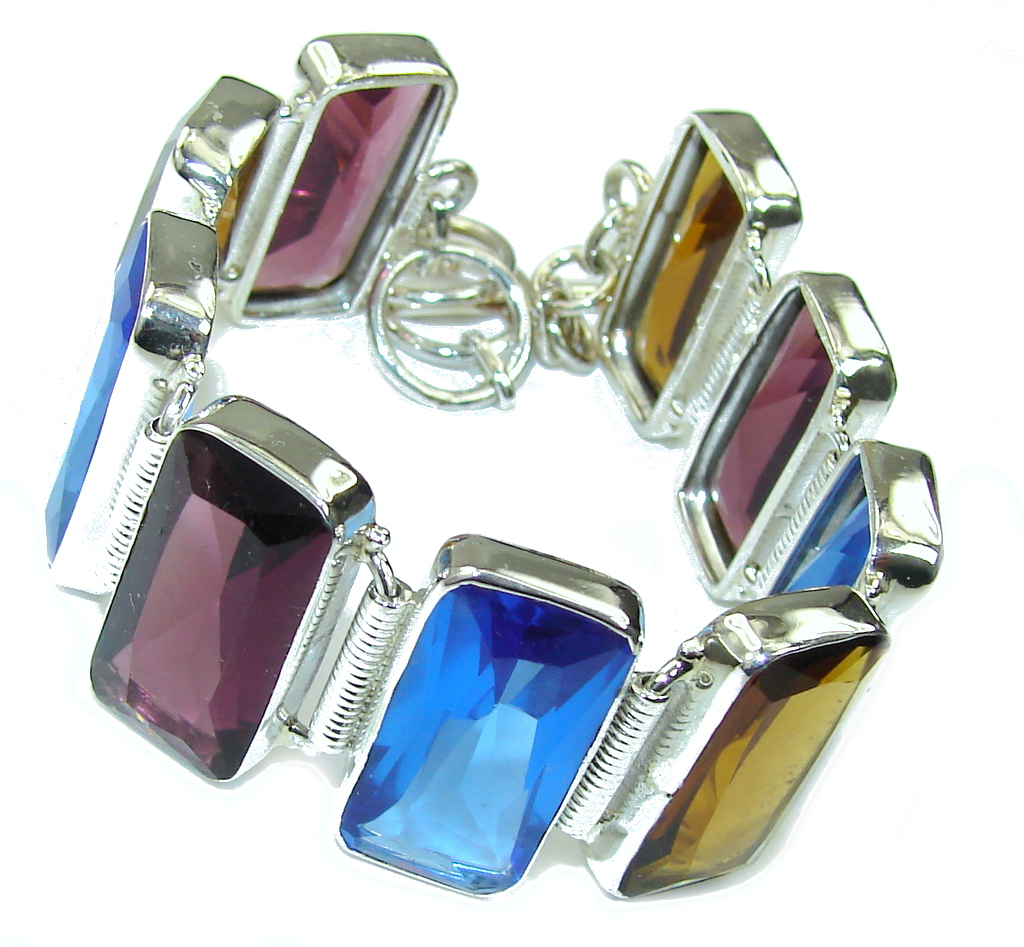 Secret! Multicolor Quartz Sterling Silver Bracelet