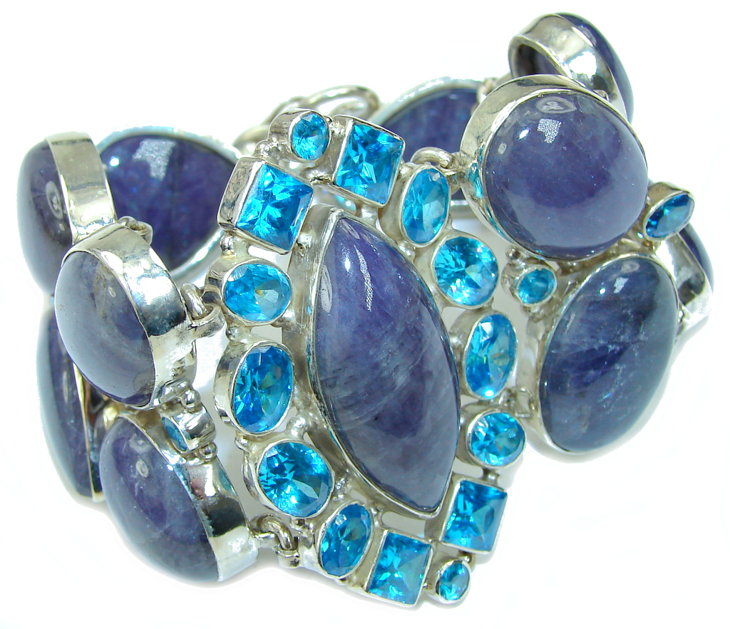 Ocean Beauty! Blue Kyanite & london Blue Topaz Sterling Silver Bracelet