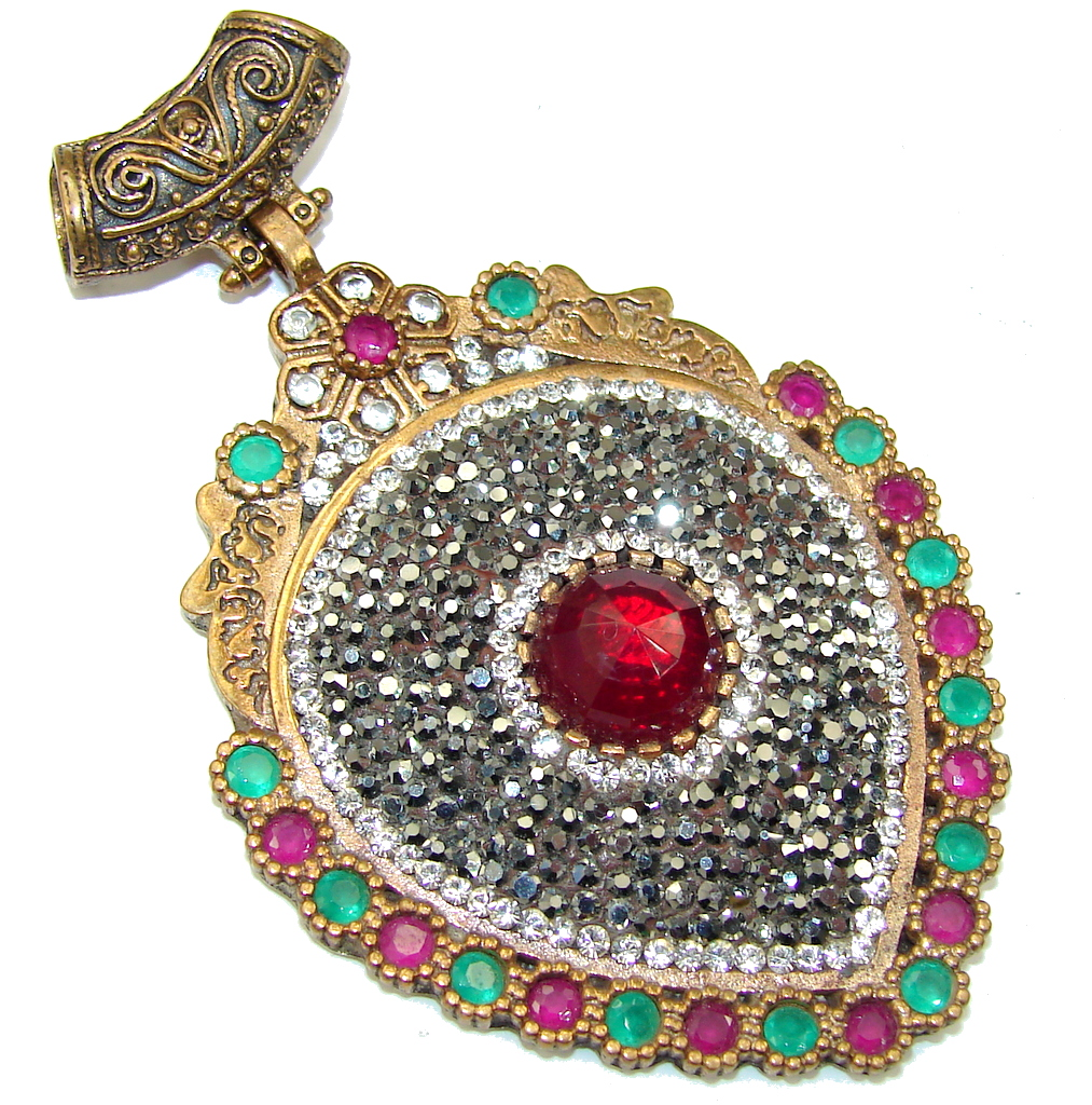 Victorian Style! Red Garnet & Ruby & Emerald Sterling Silver Pendant