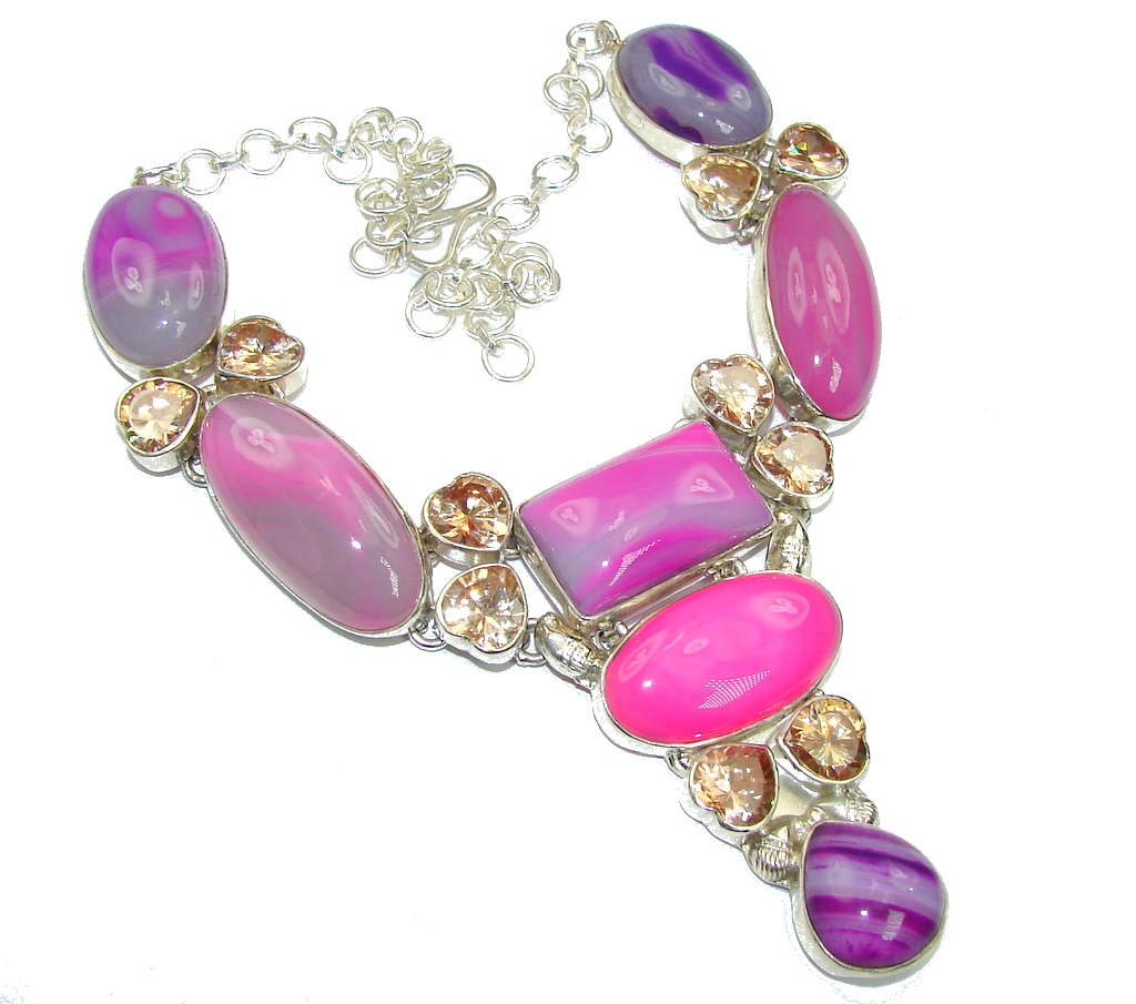Exotic Style! Multicolor Botswana Agate Sterling Silver necklace