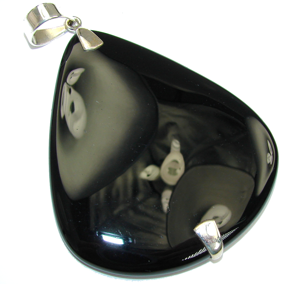 Big! Perfect AAA Black Onyx Sterling Silver Pendant