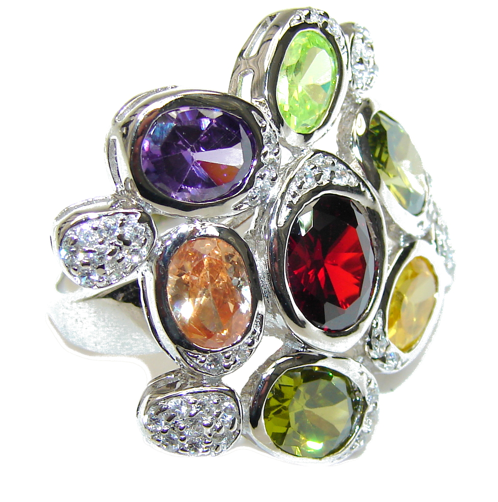 Aura Of Beauty! Multicolor Quartz & White Topaz Sterling Silver Ring s. 7