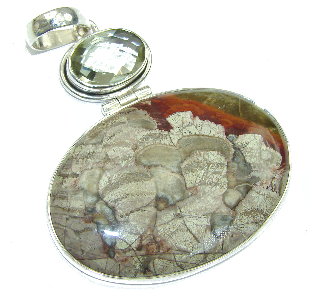Big! Beautiful! Deschutes Jasper Sterling Silver Pendant