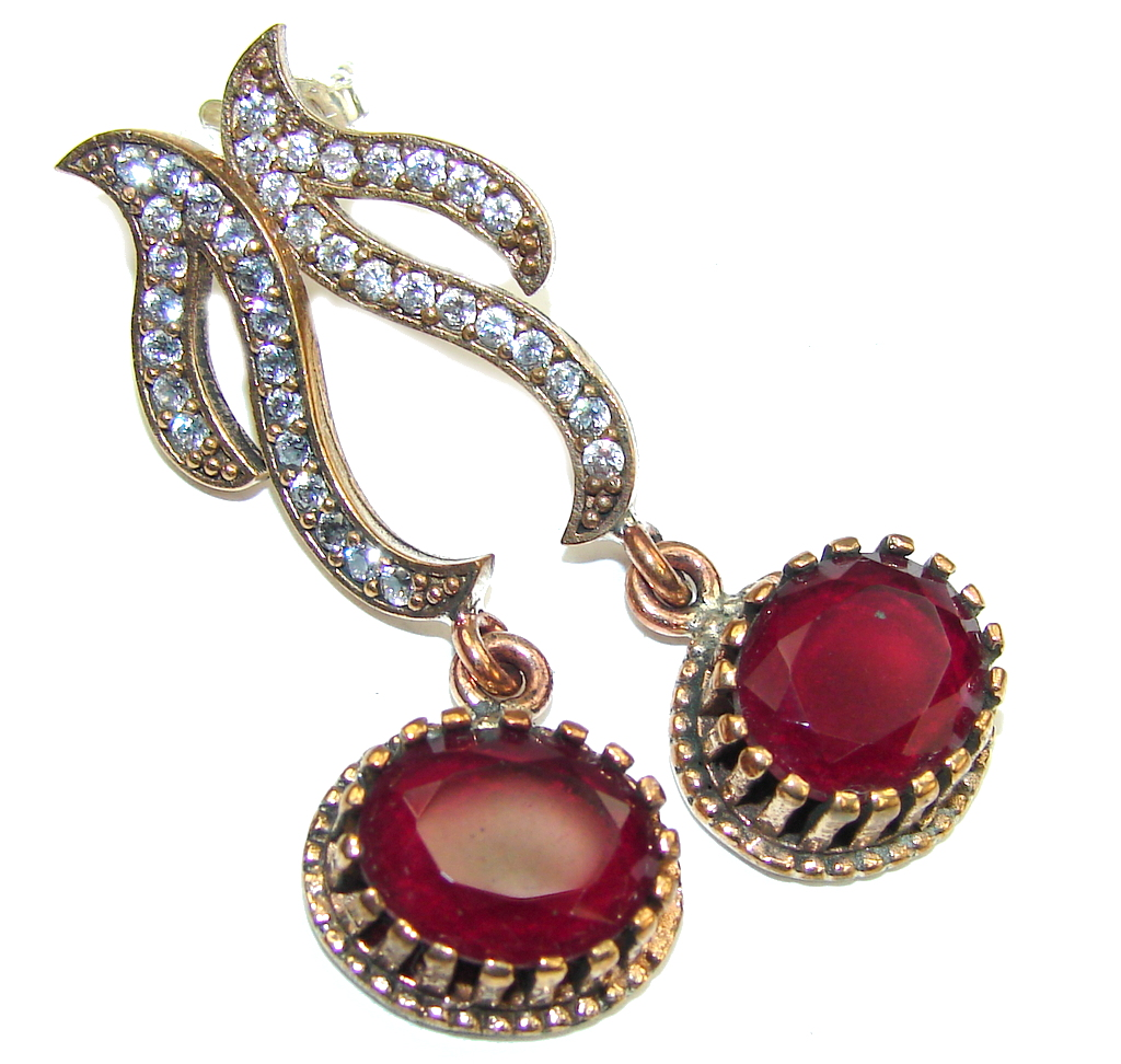 Victorian Style! Red Ruby & White Topaz Sterling Silver earrings