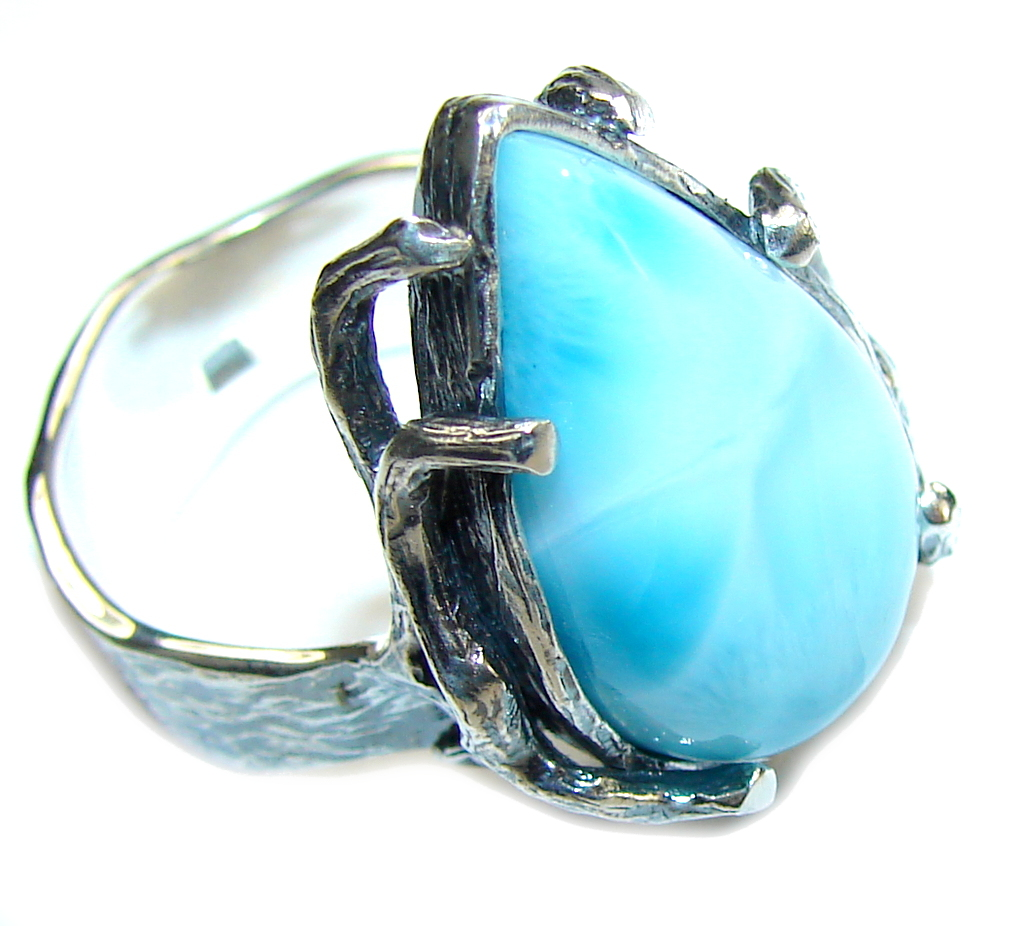 Amazing Design! AAA Blue Larimar Sterling Silver Ring s. 8 1/2