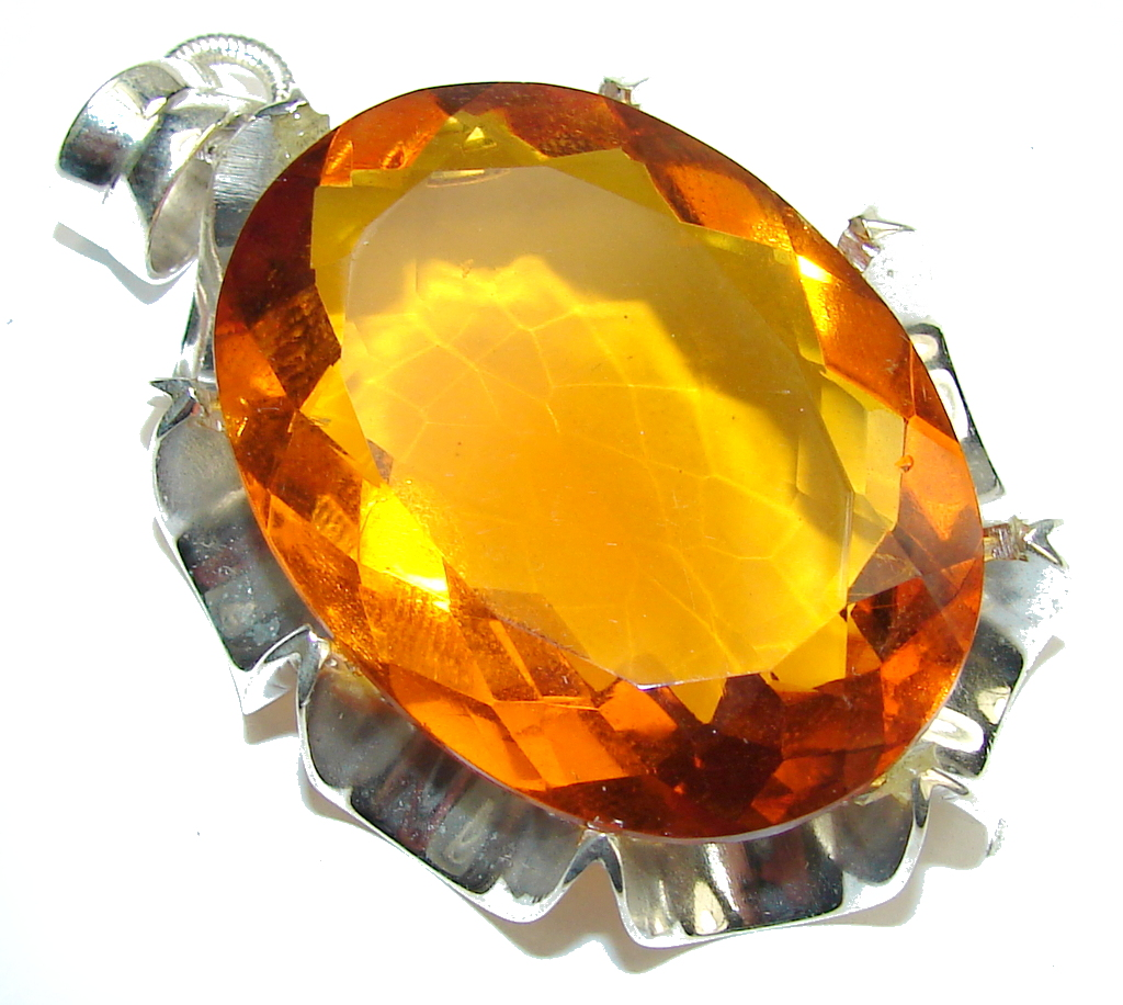 Bali Secret! Created Golden Topaz Sterling Silver Pendant