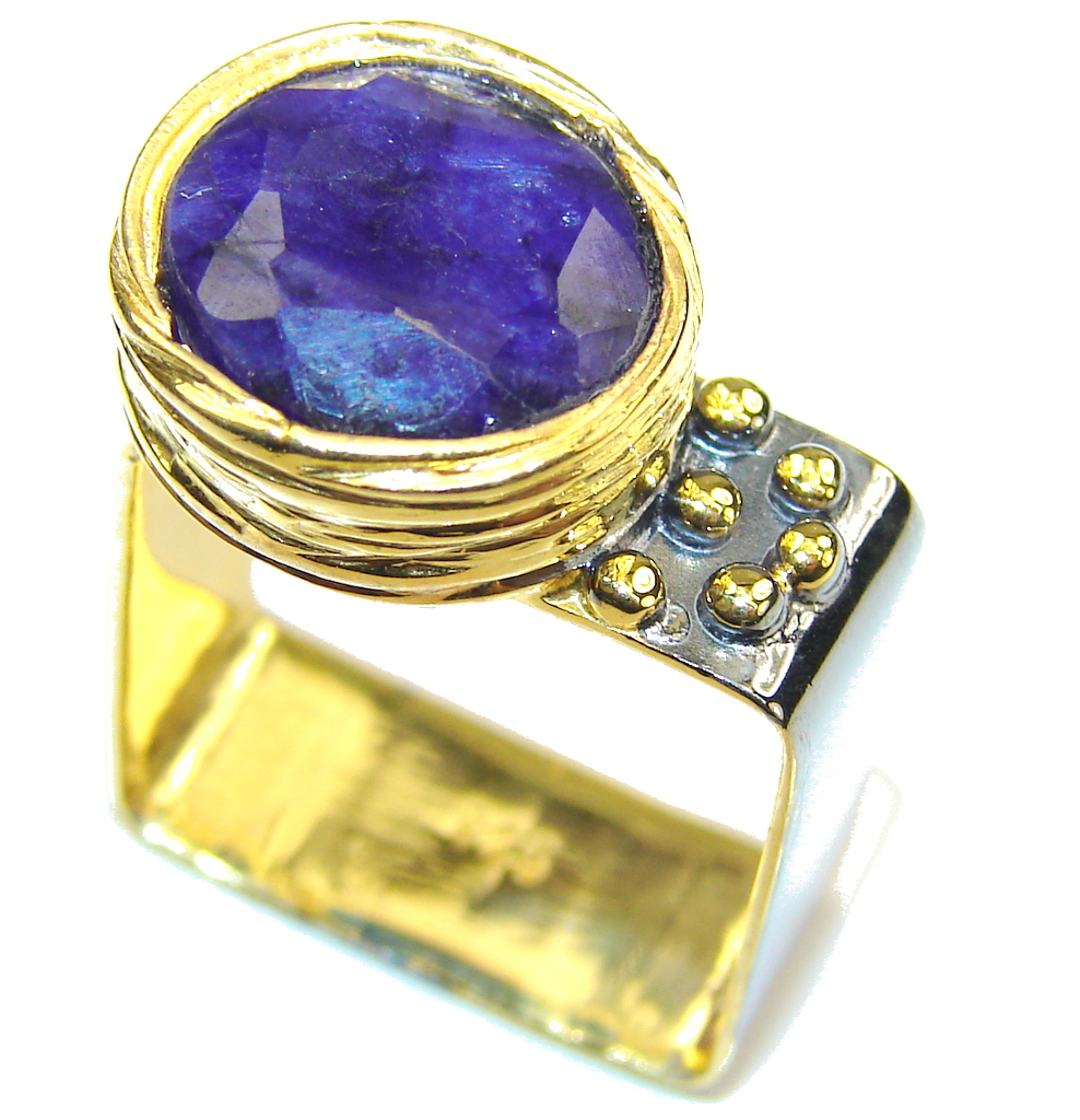 Natural AAA Blue Sapphire, Gold Plated, Rhodium Plated Sterling Silver Ring s. 5 1/4