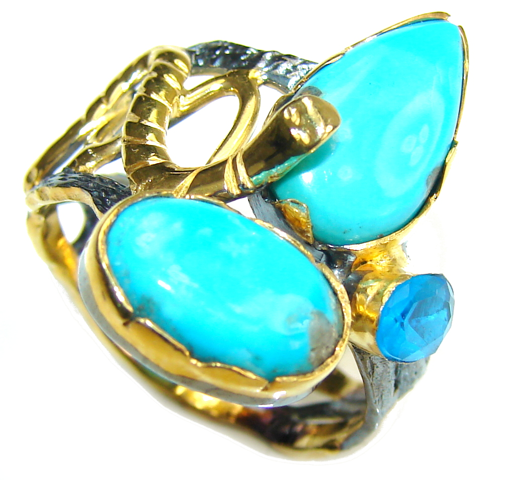 Sleeping Beauty! AAA Blue Turquoise & Blue Topaz, Gold Plated, Rhodium Plated Sterling Silver ring s. 9