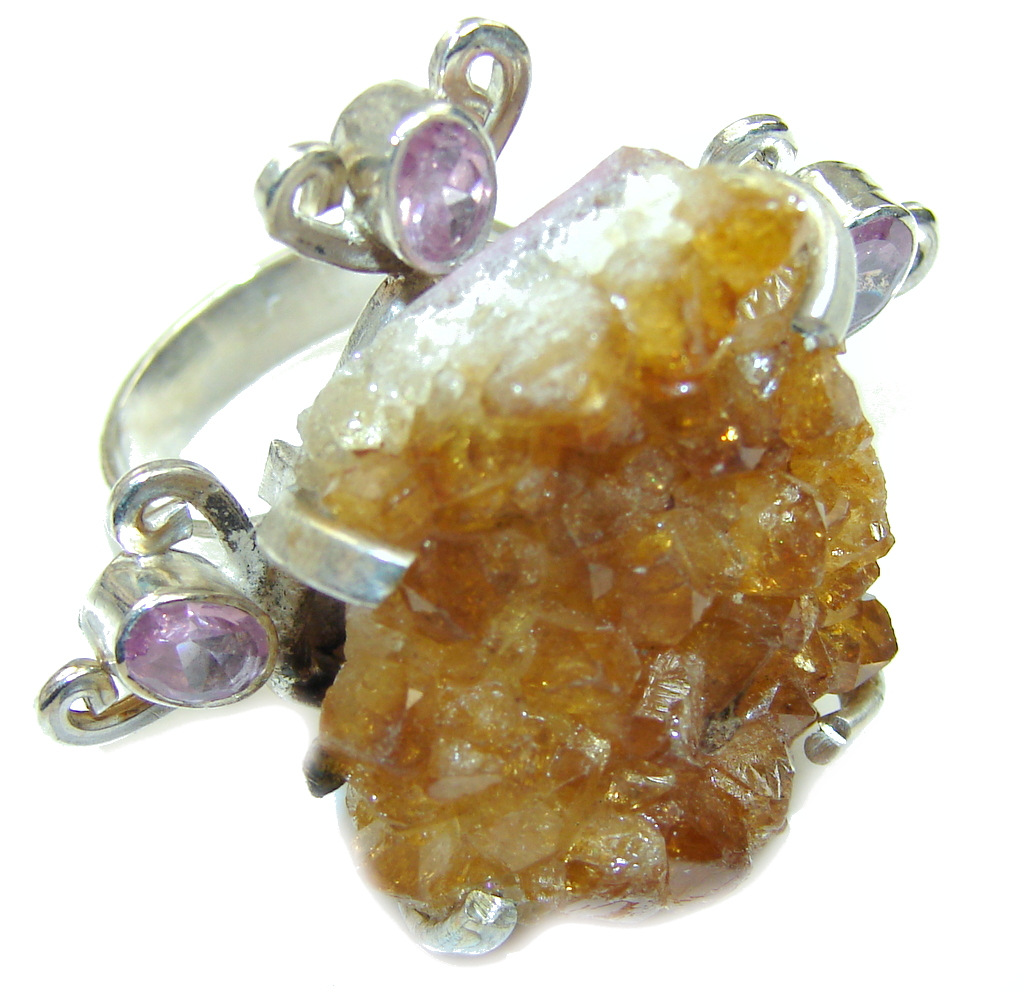 Big! Classy Rough Citrine Sterling Silver ring s. 8