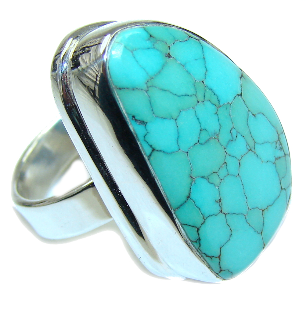 Amazing! Light Copper Blue Turquoise Sterling Silver ring s. 8