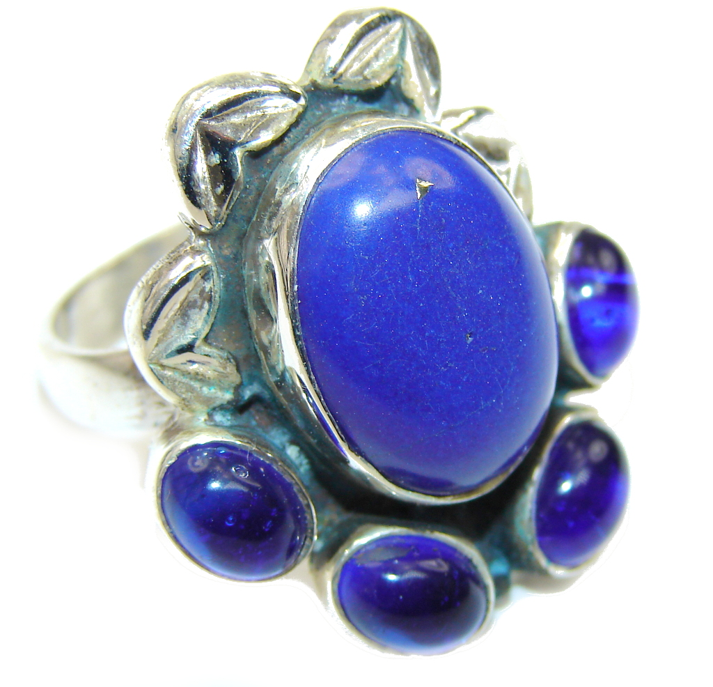 Royal Blue Lapis Lazuli & Blue Quartz Sterling Silver Ring