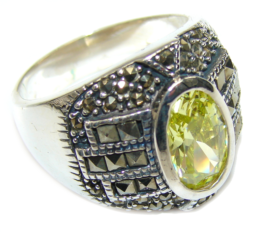 marcassite.com view the photo of  Delicate Yellow Quartz & Marcasite Sterling Silver ring s. 9