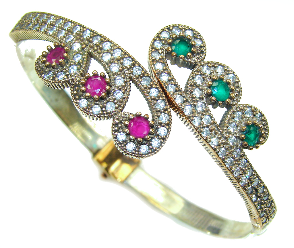 Victorian Style! Pink Ruby & Emerald & White Topaz Sterling Silver Bracelet