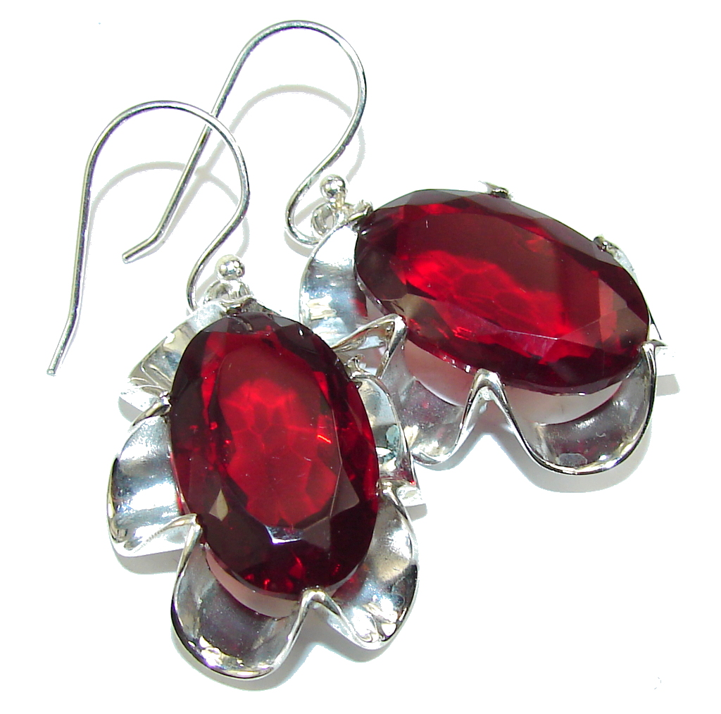 Bali Secret! Created Red Garnet Sterling Silver earrings