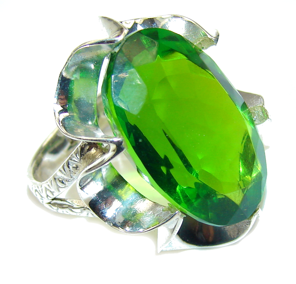 Fresh Garden! Created Green Peridot Sterling Silver Ring s. 10