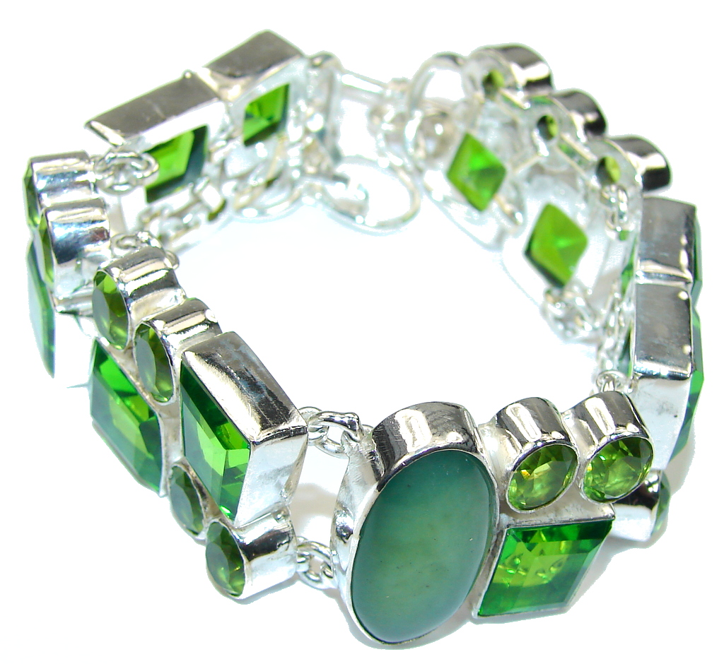 Secret Garden! Created Peridot Sterling Silver Bracelet