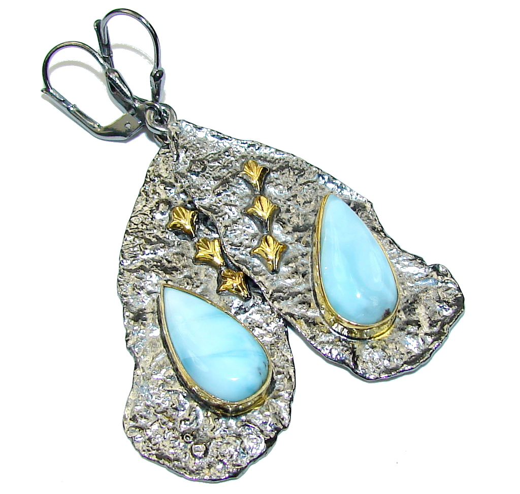 Fashion AAA Blue Larimar, Gold Plated, Rhodium Plated Sterling Silver earrings / Long