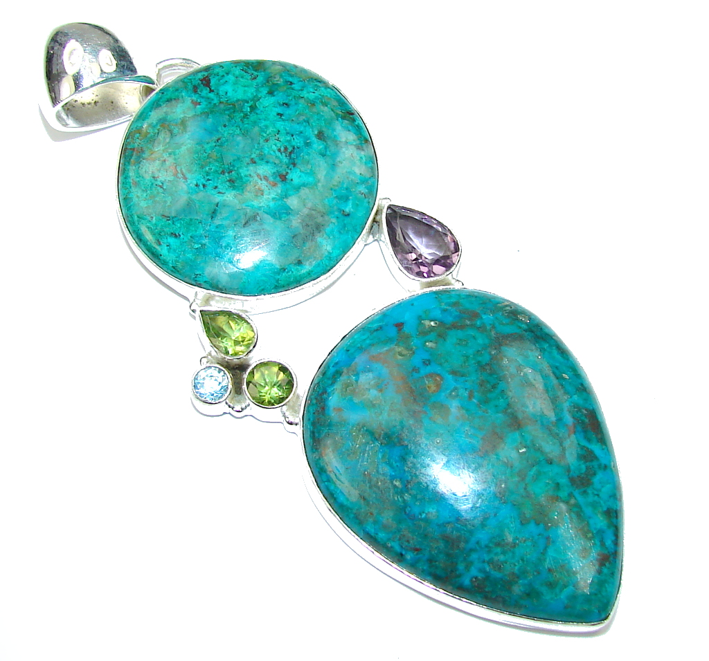 Big! Blue Lagon! Chrysocolla Sterling Silver Pendant