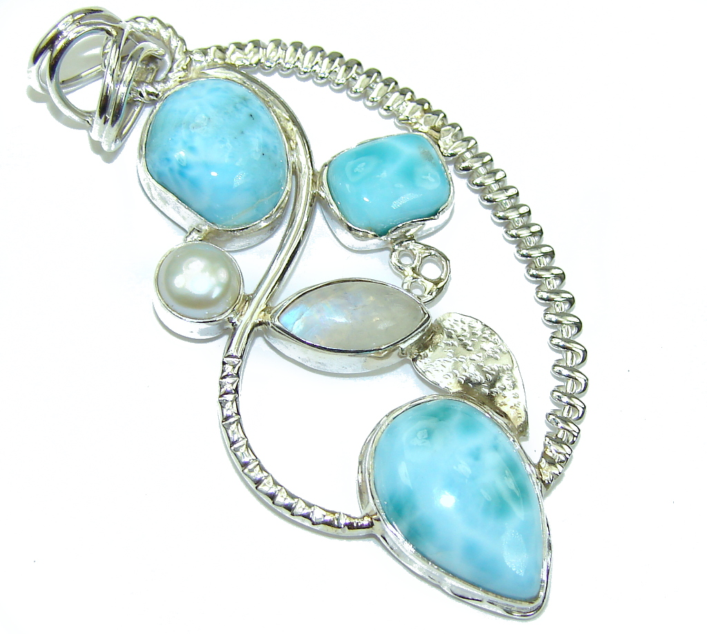 Exotic Design! AAA Blue Larimar & Moonstone Sterling Silver Pendant