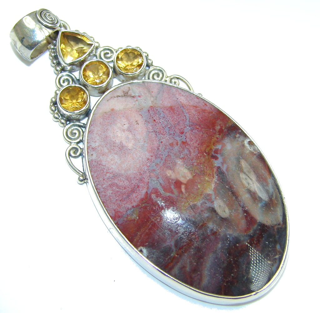 Awesome! Tiffany Jasper & Citrine Sterling Silver Pendant