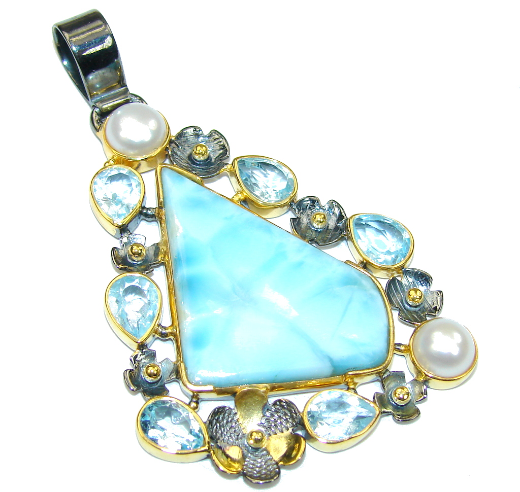 Stunning AAA Blue Larimar &Swiss Blue Topaz & Fresh Water Pearl, Gold Plated, Rhodium Plated Sterling Silver Pendant