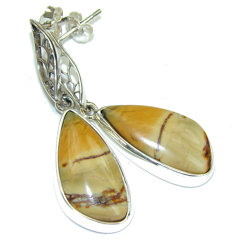 Amazing Brown Owhyee Jasper Sterling Silver earrings