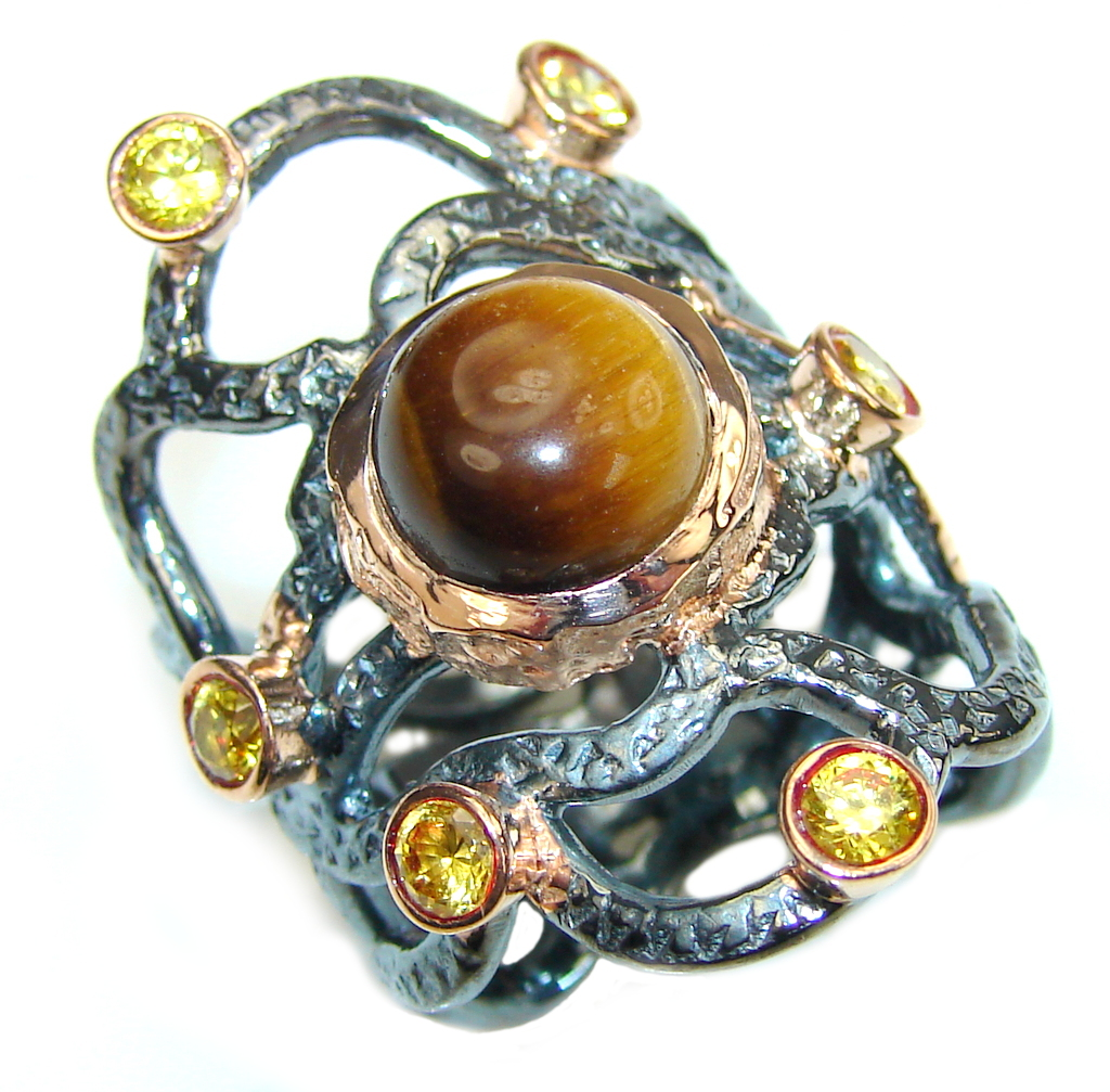 Beautiful AAA Tigers Eye, Rose Gold Plated, Rhodium Plated Sterling Silver Ring s. 6 1/4