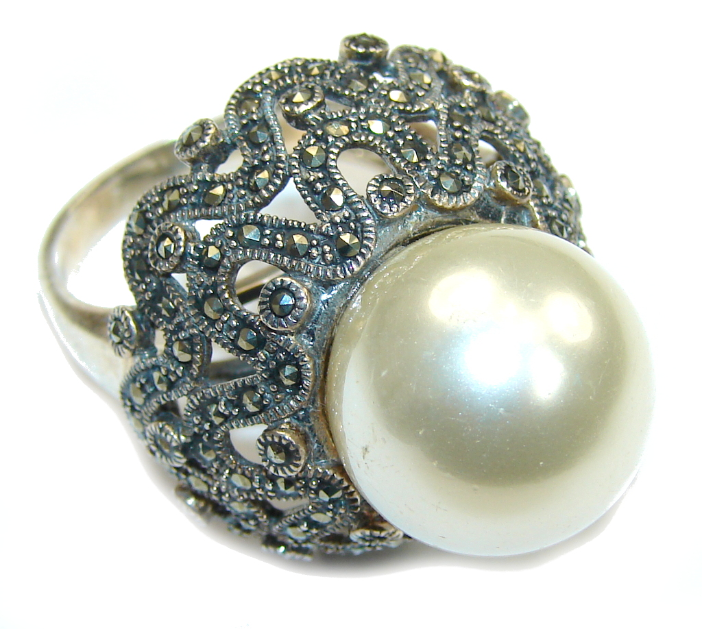 marcassite.com the marcasite jewelry place    	Winter Style! Fresh Water Pearl & Marcasite Sterling Silver ring; s. 9