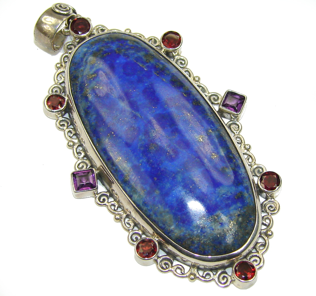 Awesome Blue Lapis Lazuli & Amethyst & Garnet Sterling Silver Pendant