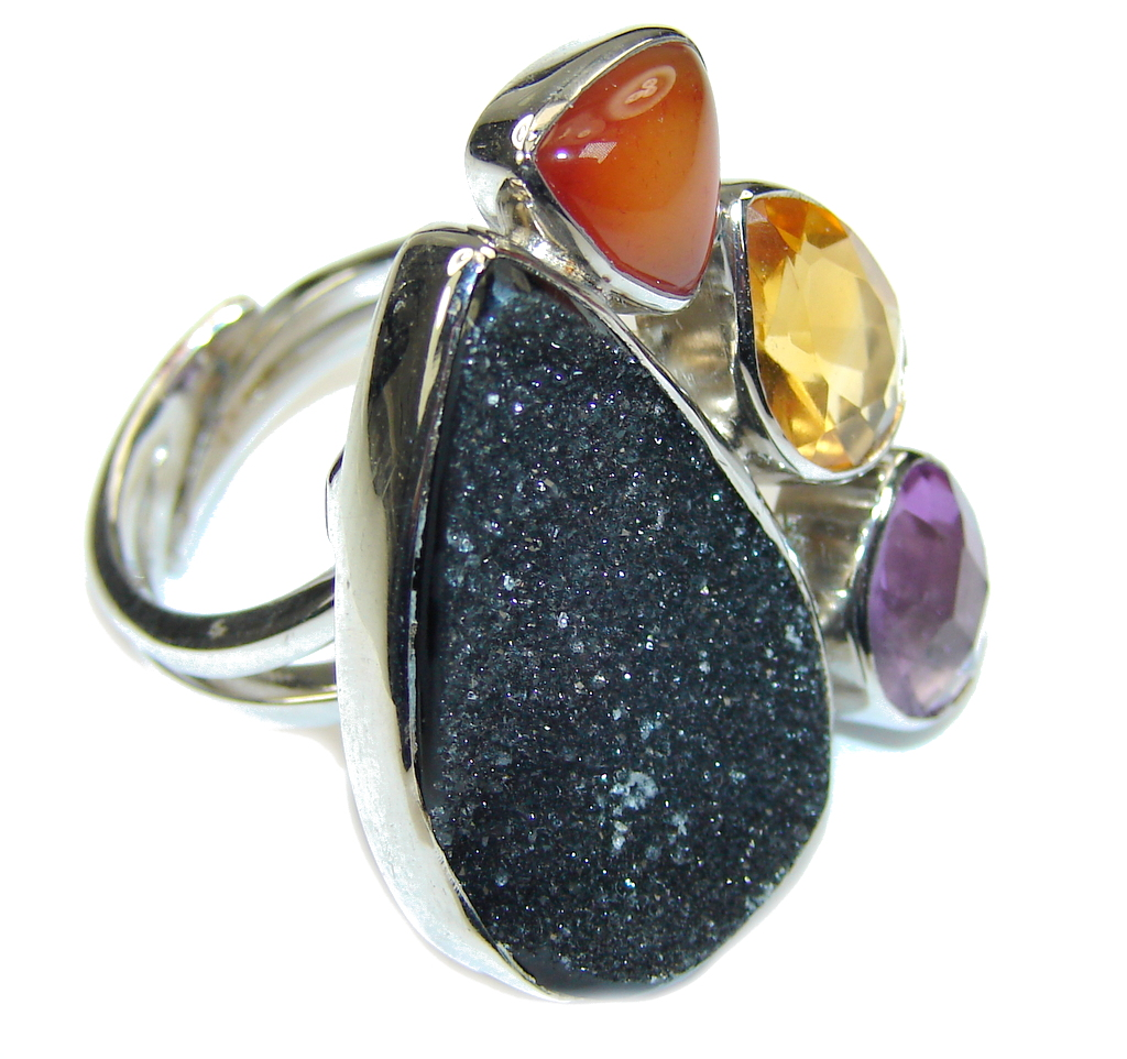 Black Attraction! Black Agate Druzy Sterling Silver ring s. 8- Adjustable