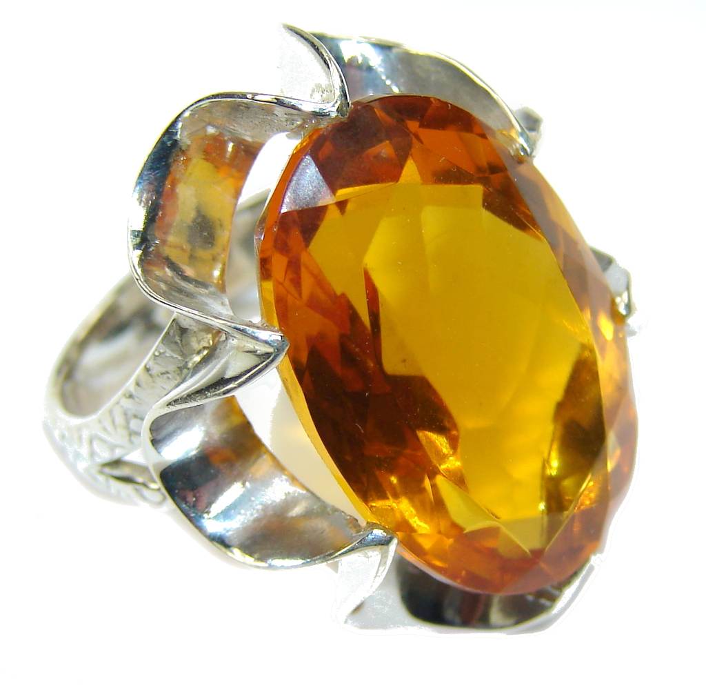 Amazing Created Golden Topaz Sterling Silver Ring s. 8 1/2