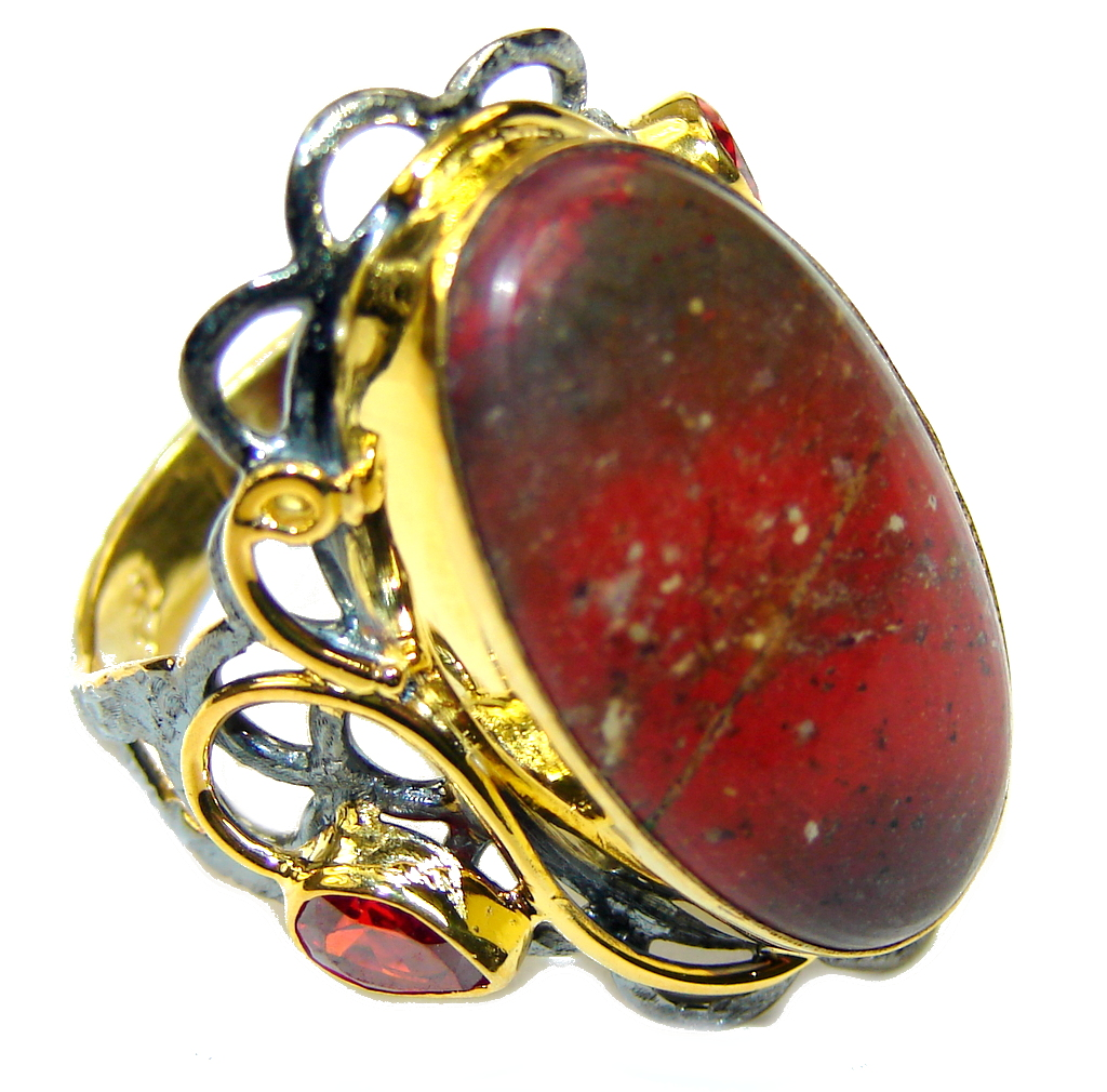 Beautiful DEsign! Red Sonora Jasper& Garnet, Gold Plated, Rhodium Plated Sterling Silver Ring s. 10