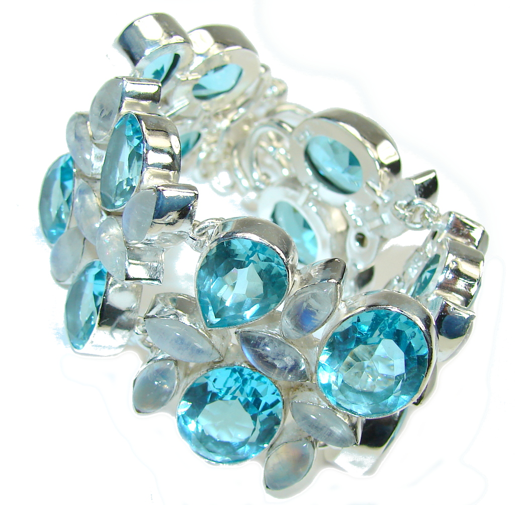 Caribbean Style! Created Blue Larimar & Moonstone Sterling Silver Bracelet