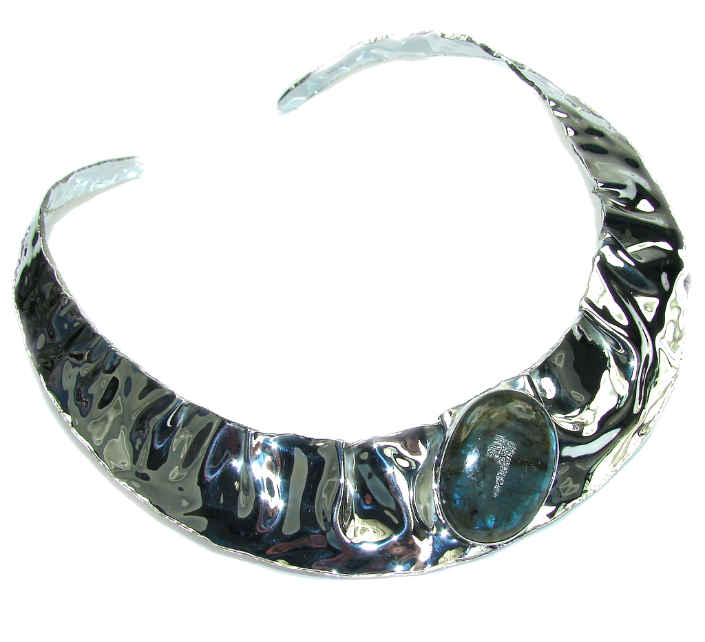 Bohemian Style AAA Labradorite Hammered Sterling Silver necklace / Choker