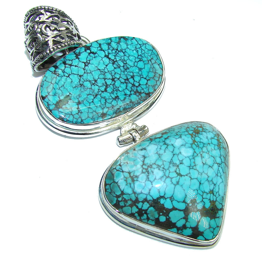 Large! AAA Black Spider Web Blue Turquoise Sterling Silver Pendant