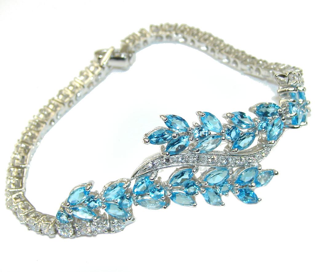 Caribbean Style! AAA Blue Topaz & White Topaz Sterling Silver Bracelet
